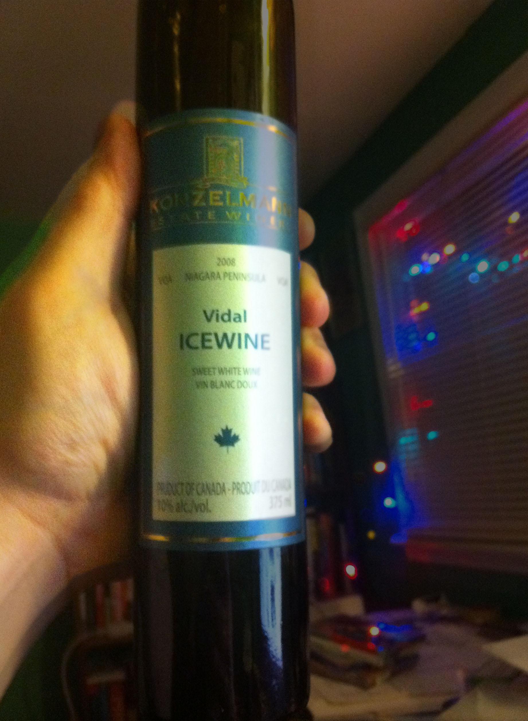 A 375 ml bottle of Konzelmann Estates 2008 Vidal Icewine
