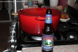 Cooking (and drinking) with Saranac. Photo courtesy of The Backyard Pioneer (Facebook)