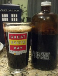 Snaggletooth Stout in my Great South Bay pint glass.