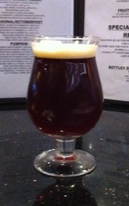 A glass of Old Foghorn at Road Trip American Ale House
