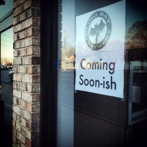 Coming soon-ish sign on Blind Bat Brewery's soon-to-open brewery