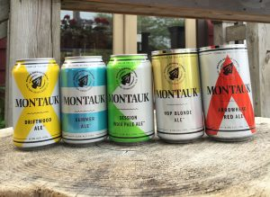 Cans of Montauk Brewing Driftwood Ale, Summer Ale, Session IPA, Hop Blonde Ale, and Arrowhead Red Ale